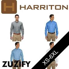Harriton Mens Long-Sleeve Oxford with Stain-Release. M600