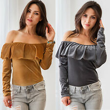 WOMEN'S OFF SHOULDER BOAT NECK RUFFLED LONG SLEEVE SEXY T-SHIRT BLOUSE LIVELY