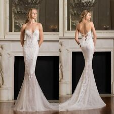 2017 Summer Sexy V Neck Mermaid Wedding Dresses Lace Up Bridal Gowns Custom