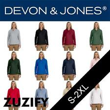 Devon & Jones Classic Ladies Pima Pique Long-Sleeve Polo Shirt. D110W