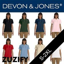 Devon & Jones Ladies Pima Pique Short-Sleeve Tipped Polo Shirt. D113W
