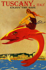 ENJOY THE RIDE TUSCANY ITALY BEACH GIRL RIDING FISH TRAVEL VINTAGE POSTER REPRO