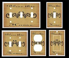 BLESS THIS HOME SCROLL BROWN  LIGHT SWITCH COVER PLATE