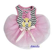 Easter Bunny Bow Gray Chevron Pink Tutu Pets Small Dogs Clothes Party Dress XS-L