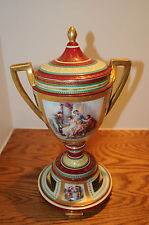 """Vintage Heavy Gold Encrusted Pedestal URN Vase by Angelica Kauffman 17"""" by 8"""" in"""