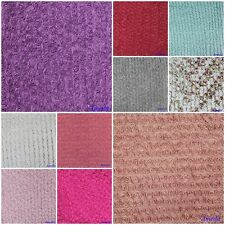 """1 Yard Red Pink Blue White Purple Silver Ruby 3D Rose Rosettes Mesh Fabric 48"""""""