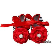 Baby Elegant Valentine's Day Rosettes Crystal Red Bow Zebra Party Crib Shoes