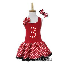 Girls Red White Polka Dots 3rd Birthday Tutu Pettiskirt Minnie Mouse Party Dress