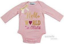 Baby Gold Sparkle Personalized Name Hello World Light Pink Long Sleeve Bodysuit