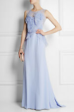 NWT NINA RICCI PURPLE LACE AND ORGANZA-TRIMMED SILK-CREPE GOWN SZ. FR.36