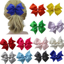 """1x 12 Color Large 5"""" Girl Baby Toddler Grosgrain Hair Pigtail Bow Alligator Clip"""