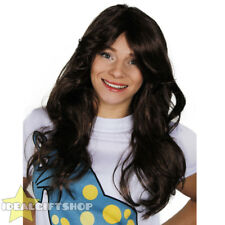 LADIES FLICK WIG 70'S STYLE BROWN WAVY HAIR WOMENS FANCY DRESS COSTUME ACCESSORY