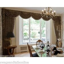 """SWAGS AND TAILS + SHOW CURTAINS FITS LARGE WINDOWS 160"""" (407cm) WIDE"""