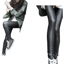 Sexy Women Black Stretch Faux Leather Splice Skinny Slim Legging Pants Trousers