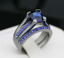 #427 (Sz 6/7/8/9/10) Blue & Clear CZ 2pc Wedding Ring Set