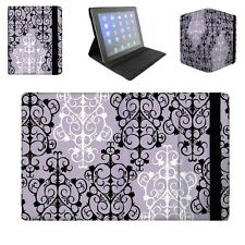 Black & White Damask Flip Folio Case - fits iPad Air Mini Samsung Galaxy