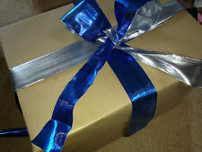 ICY METALLIC Reversible Blue & Silver - Luxury Wire Edged Ribbon *NEW*