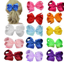 "1x Big 4.5"" Hair Bow Clips Boutique Girl Baby Grosgrain Ribbon Hair Accessories"