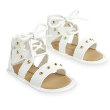 Koala Baby White Soft Sole Lace Up Sandals with Studded Straps