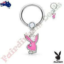 Authentic Playboy Captive Hoop Ring with Clear CZ and Pink Bunny Dangle