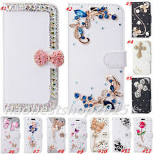 Magnetic Bling Luxury Diamonds Crystal PU Leather wallet flip Slots Cover Case E