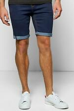 Boohoo Mens Skinny Fit Denim Shorts With Turn Up