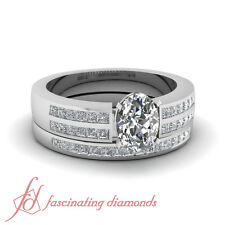 Platinum Oval Shaped Conflict Free Diamond Wedding Ring Channel Set 1 Carat GIA