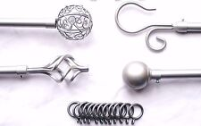 19mm Extendable Silver Curtain Pole w Twisted Cage Spiral Ball Scroll Finials