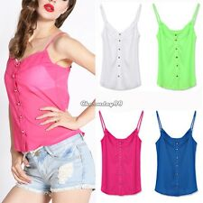 Candy Color Sexy Blouse Shirts Chiffon Blouse Spagetti Strap Vest Tops New C1MY
