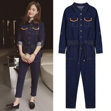 New Casual Women's Denim Jumpsuits Loose Rompers High Waist Fashion Jeans Pants