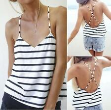 Fashion Womens Summer Vest Tops Sleeveless Shirt Blouse Striped Tank Tops Casual