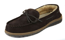 Rockport Men's Brown Suede Faux Fur Lined Moccasin Slippers Shoes Ret $75 New