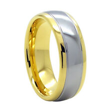 8mm Dome 2-Tone Gold Mens Tungsten Ring Wedding Band Bridal Jewelry Size 4-18