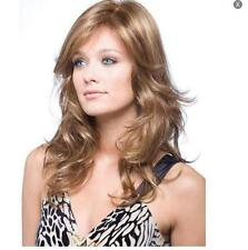 Women Lady Middle Long Cropped Curly Wig Full Wigs Cosplay Party Flaxen&Brown