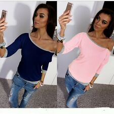 Chic Women One Off Shoulder Cotton Top 3/4 Sleeve knitting Lady T-shirt Blouse