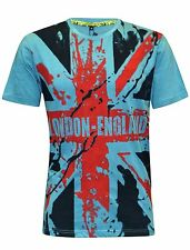 Mens London England All Over Union Jack Print Short Sleeve Casual T-Shirt Top S