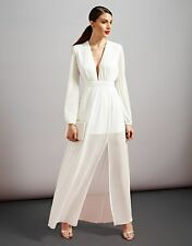 BNWT TOPSHOP CREAM PLUNGE LONG SLEEVE MAXI DRESS BY RARE SIZES 8 10 12