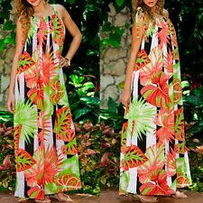 Sexy Women Casual Dress Summer Sleeveless Floral Long Dress Beach Maxi Sun Dress