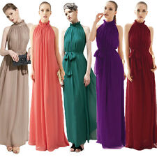 Ladies Summer Chic Solid Maxi Chiffon Dress Boho Party Beach Sleeveless Sundress