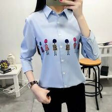 New Womens Ladies Character Print Long Sleeve White Button Down Shirt Blouse Top
