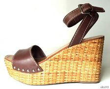 new $520 PRADA Farella open-toe ankle strap brown platfroms WEDGES shoes 40 10