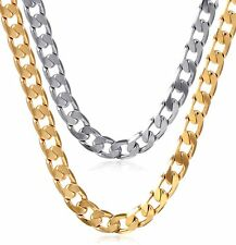 Mens Thick Heavy Stainless Steel Cuban Link Chain Charm Long Necklace