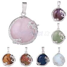 30mm Healing Dragon Gemstone Stone Round Bead Pendant Charms Fit DIY Necklace