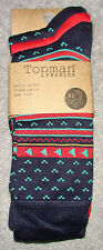 BNWT Topman Mens Ankle Socks 3 Pair Pack Red Plain & Pattern, One Size