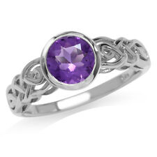 1.19ct. Natural African Amethyst 925 Sterling Silver Celtic Knot Ring