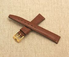 New Gucci 14 MM Light Brown Lizard Pattern on Genuine Leather Watch Band -14.110