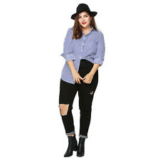 Fashion Womens Blue Shirt Stripes Plus Size Collar Long Sleeve Blouse Hot