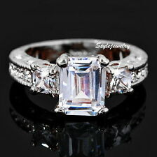 18k White Gold Plated Made with Swarovski Crystal Wedding Engagement Ring R27