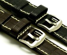 24mm Black Brown Top Quality Leather Hand-Stitched Watch Strap Crocodile Grain