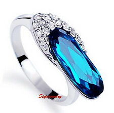 White Gold Plated Ocean Blue Made with Swarovski Crystal Cocktail Ring SR78